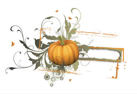 pumpkin with banner for text Vector