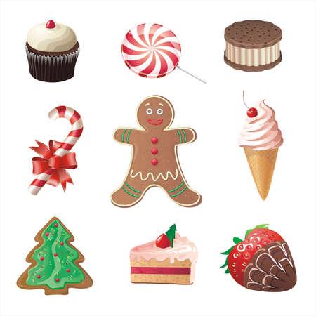 christmas sweets, icons set