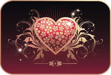 Valentines postcard. Heart with floral ornament. Illustration