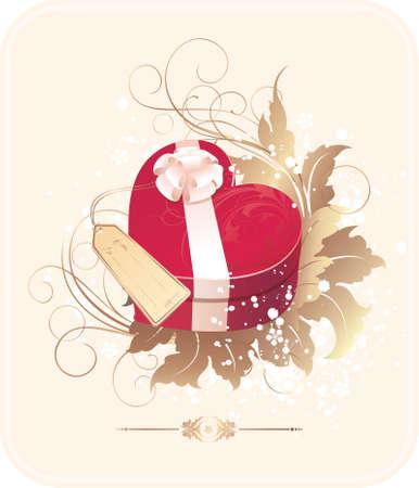 Valentines heart-shaped present box Vector