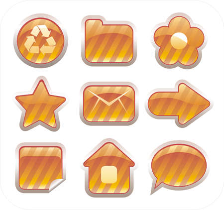 Set of glossy golden icons Stock Vector - 2911901