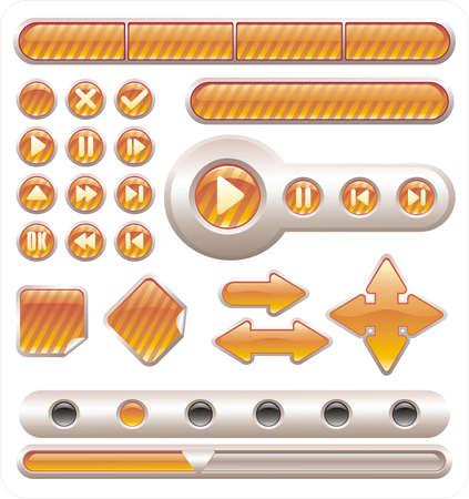 Vettore d'oro lucido pulsanti e striscioni per il web design
