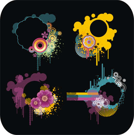 zestaw kolorowych ramek na czarnym tle Ilustracja