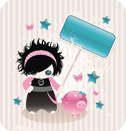 emo: cartoon Eno meisje met glanzende bordje en zoete piggy Stock Illustratie