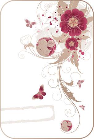 floral background con le farfalle e cornice per il tuo testo Vettoriali