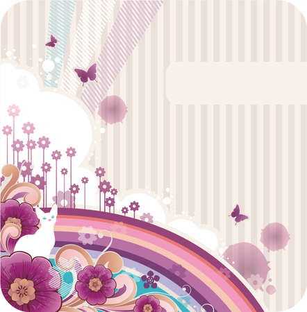 cartone animato con banner sfondo per il testo
