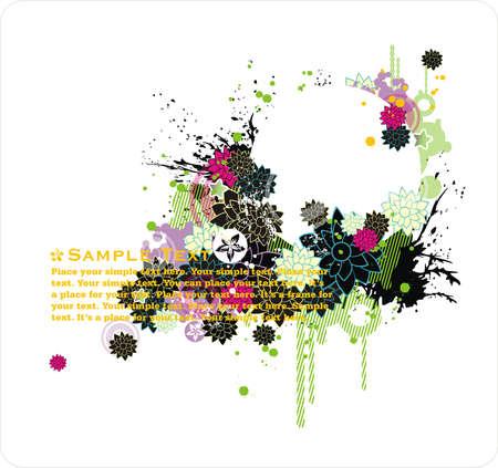 cornice di testo con ornamenti floreali e grunge elementi Vettoriali