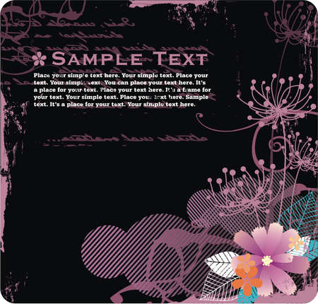 background with free space for your text, flowers and grunge elements Stock Vector - 3700580