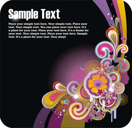 tło z wolnego miejsca na tekst, kwiatów i elementów grunge Ilustracja