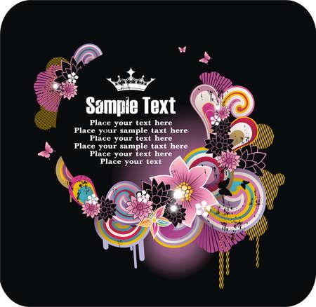 ramka tekstu ornamentem z kwiatów i grunge elementy