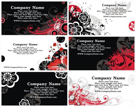 Collection of horizontal business cards templates in black white and red colors Vector