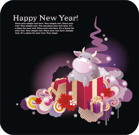 artworks: bright christmas background with christmas attributes and symbol of new year