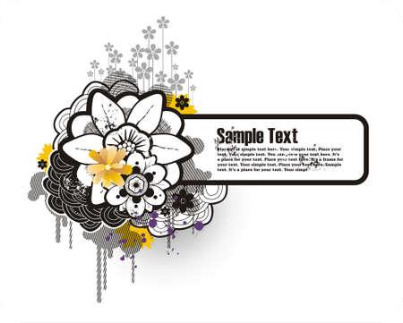 cornice di testo e ornamento floreale con elementi grunge Vettoriali