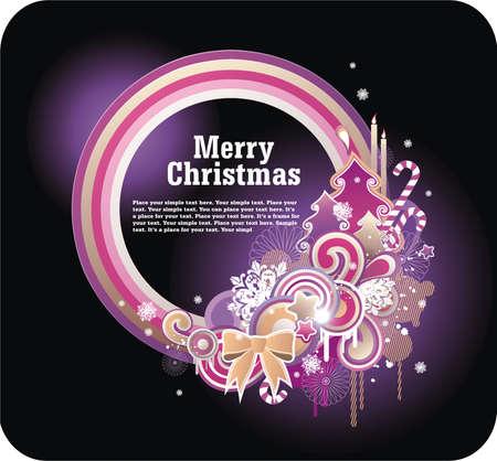 Natale brillante cornice per il vostro testo con attributi di Natale