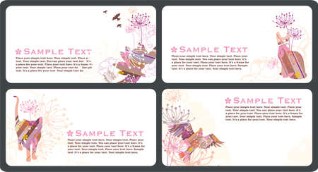Collection of retro horizontal business cards templates