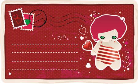 Valentines postcard Stock Vector - 4146794