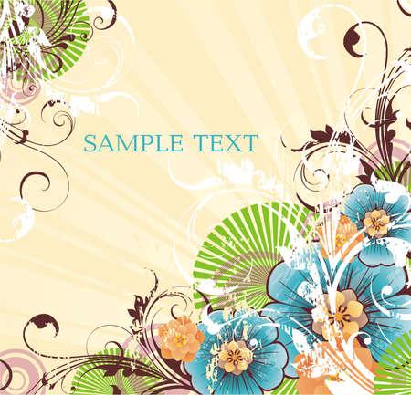 paski żółtym tle z banner na swój tekst i wiosennych kwiatów Ilustracja