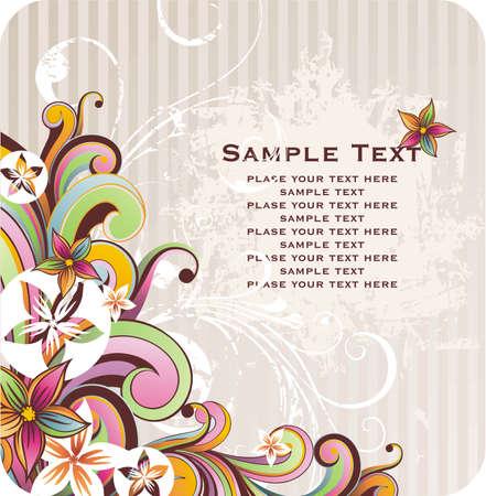 tło z transparent swój tekst i wiosennych kwiatów Ilustracja