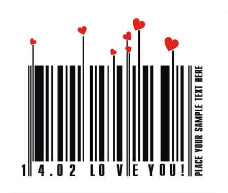 white bars:  Valentines bar code
