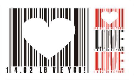 Valentines bar code Vector