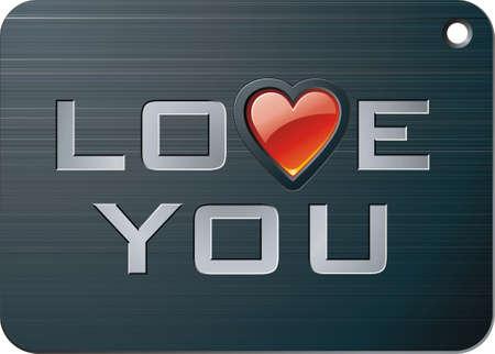 declaracion de amor: Metal comprimido con joya coraz�n y declaraci�n de amor para el D�a de San Valent�n