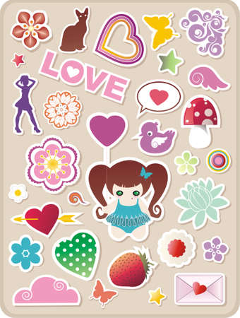 collection of cute valentines stickers for your design Illustration