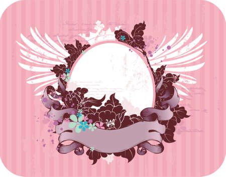 vector grunge frame for your text or photo with wings, crown and flowers Vector