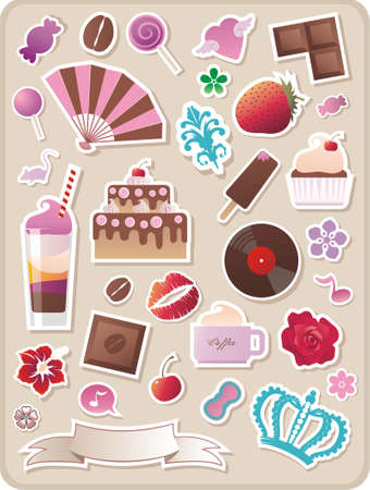 collection of cute stickers for your design Illustration