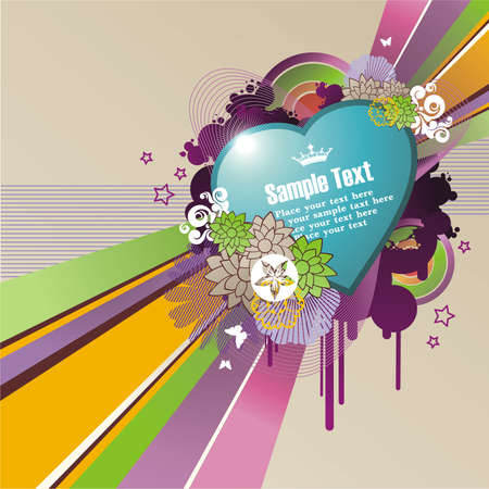 heart-shape frame for text with floral ornament and grunge elements Illustration