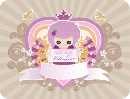 Cartoon valentines background with banner for your text Stock Vector - 4235375