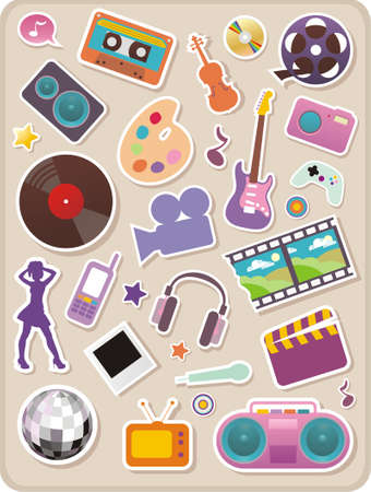 Set of entertainment stickers Illustration