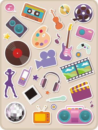 Set of entertainment stickers Illustration