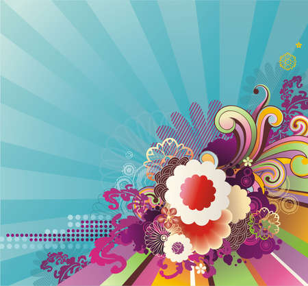 striped background with banner for your text and spring flowers Illustration