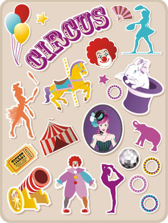 Circo adesivi Vettoriali