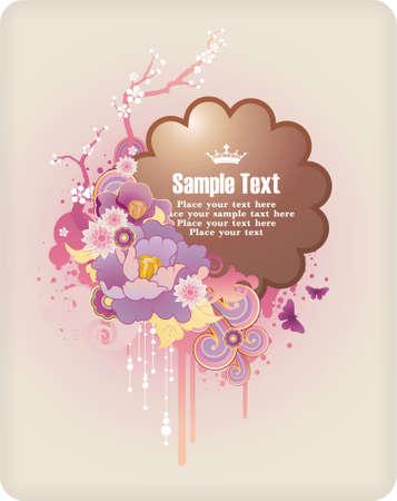 : Ramka tekstu ornamentem z kwiatów i grunge elementy