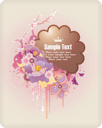 : frame for text with floral ornament and grunge elements