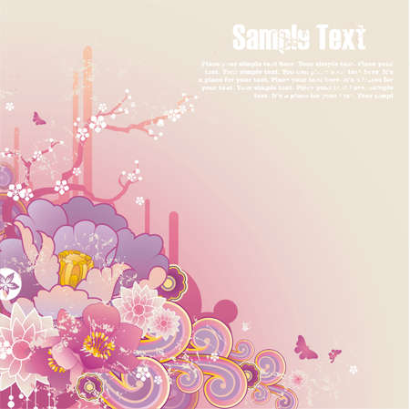 pastel shades background with floral ornament , grunge elements and free space for your text Illustration