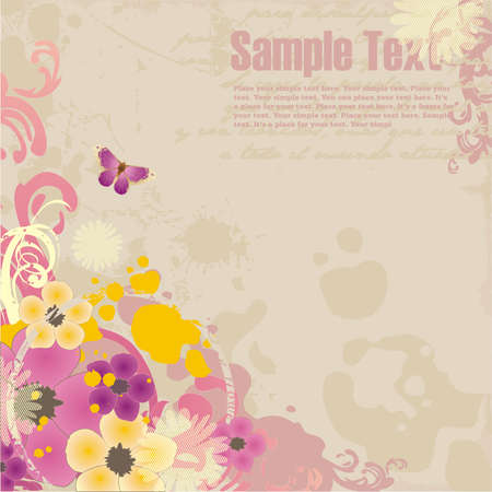 grunge background with floral ornament and free space for your text