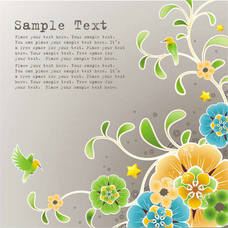 spring background with floral ornament , grunge elements and free space for your text