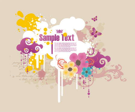 bright color cloud-shaped frame for text with flowers and grunge elements Vector