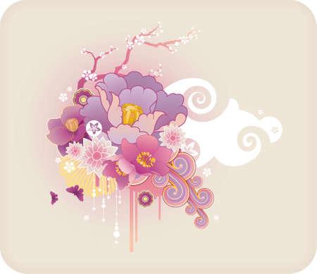 Pastello cornice di testo e ornamento floreale con elementi grunge