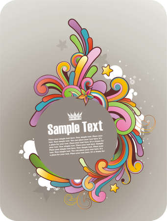 flower banner: colored graffiti styled round frame for text
