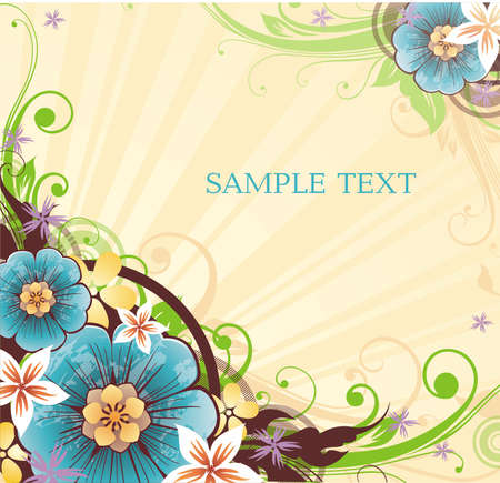 striped yellow background with banner for your text and spring flowers Illustration
