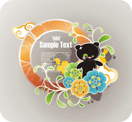 Round orange floral frame with grunge elements and funny cartoon bear