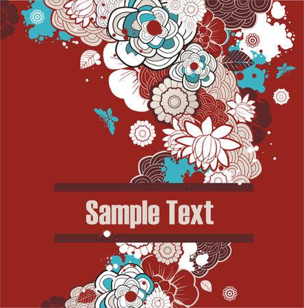 background with free space for your text decorated with flowers Illustration