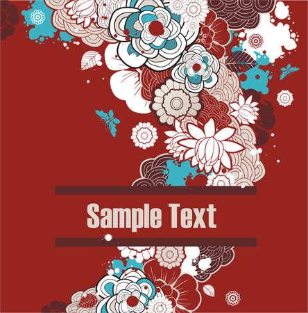 tło z wolnego miejsca na tekst udekorowany kwiatami