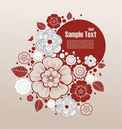grunge cornice per il testo con elementi floreali Vettoriali