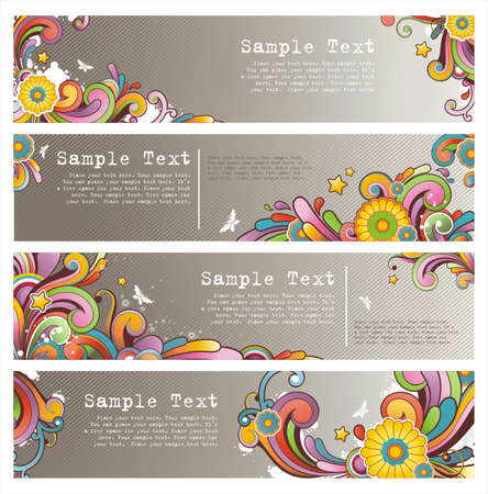 set of grunge stylish colored banners Illustration