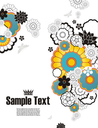 background with free space for your text decorated with flowers