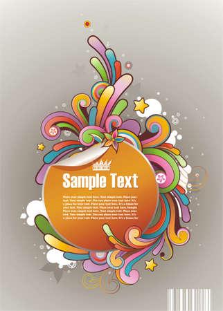 落書き: テキストの丸いフレーム スタイル色の落書き